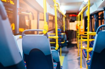 Modern city bus interior and seats