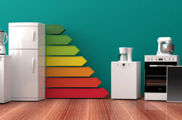 Home appliances and energy efficiency rating. 3d illustration